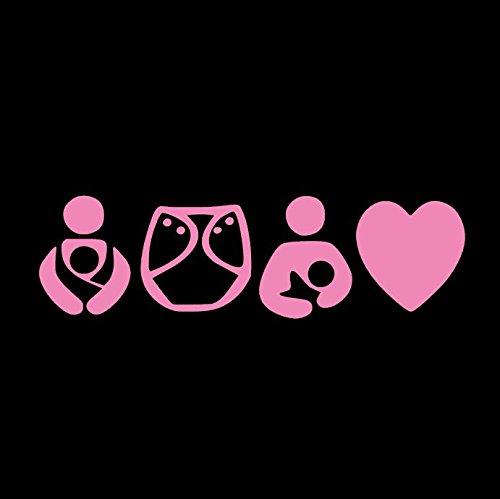 Crunchy Mom Breastfeeding Pink Vinyl Car Window Decal Sticker