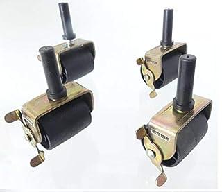 TECH TEAM Vergrendelbare bedwielen, rollen, remmen, stuurpen voor bedframe socket, set van 4