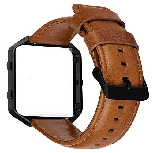MroTech Horlogeband Lederen Armband compatibel voor Fitbit Blaze Smartwatch Reserveband Leer Kijk Horloge Watch Band met Stalen Frame Horlogebandje Polsband-Bruine band/zwarte gesp/zwart frame