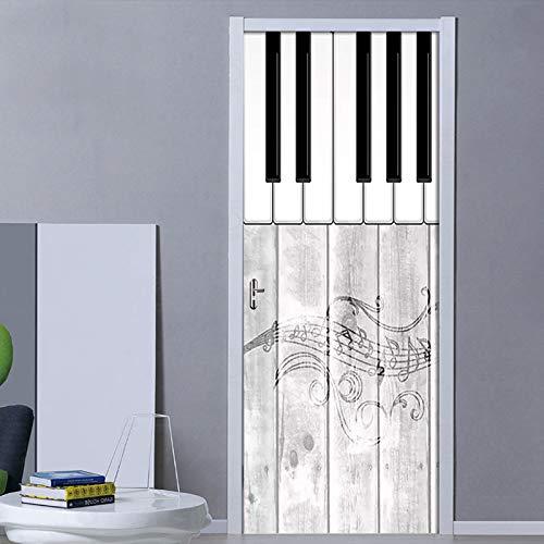 koigjh Schritt Tür Aufkleber Neue Abziehbilder Wandbild DIY Selbstklebende Nordic Piano Musik Wallpaper wasserdichte Poster Renovierung Für Wohnkultur 3D