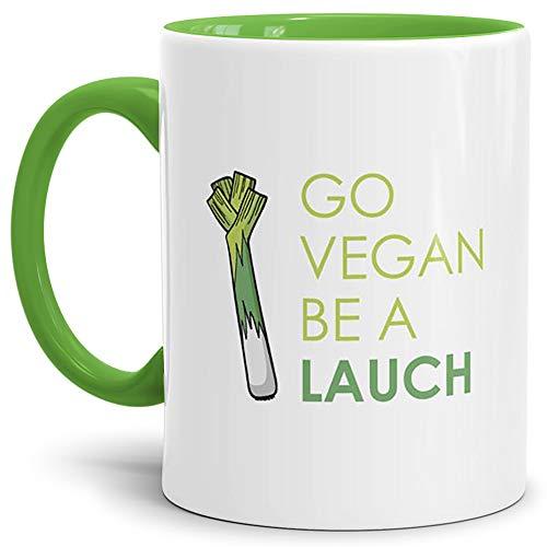 Tassendruck Lauch-Tasse Go Vegan be a Lauch Innen & Henkel Hellgrün/Lauch/Fun/Lustig/Spruch/Geschenk/Grün/Beste Qualität - 25 Jahre Erfahrung