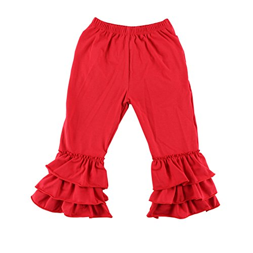 Wennikids Baby/Toddler Girls Soft Knit Flare Pants with Triple Ruffles 1-6T