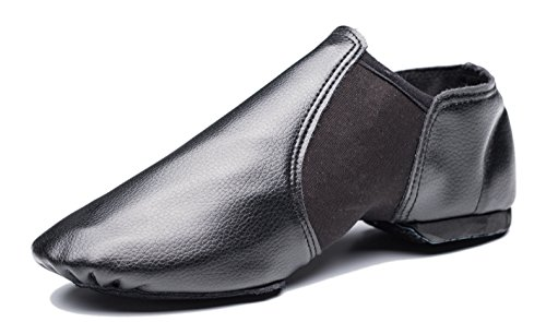 Cheapdancing Breathable Practice Jazz Shoes Soft-soled Leather Dance Shoes, Black (9 W / 8 M)