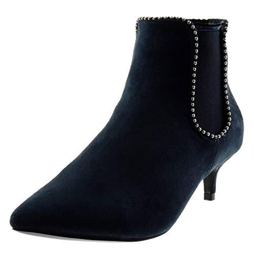 Angkorly - Mode schoenen Enkellaars Chealsea Laarzen Slip-on Vrouw Parel Bezaaid Elastiek Kitten Heel 5 CM - Marine L2772 T 39