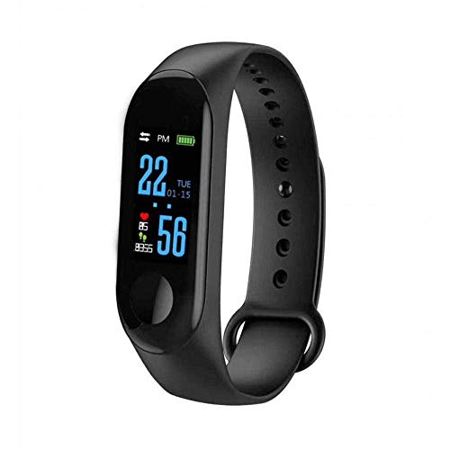 SHOPTOSHOP Fitness Tracker SM3 Wristband with Heart Rate Band Activity OLED Display Bracelet for Android iOS (Black)