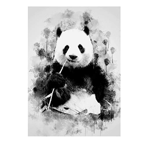 Ignite Wander Plakat und Drucke Netter Panda, der Bambus-Kunstbilder für Wohnzimmer-Hauptwanddekorations-Gemälde -50x70 cm kein Rahmen 1PCS isst