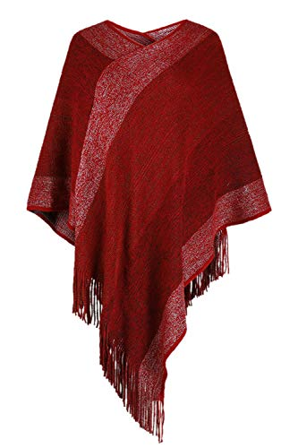 Fomolom Women Poncho Sweater Patchwork Knitted Shawl Lightweight Bling Warm Pullover Cape Burgundy