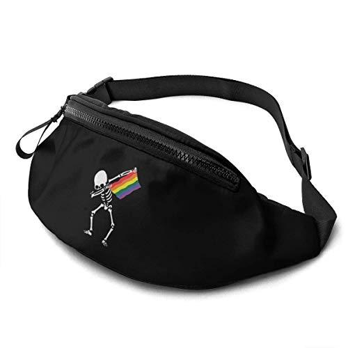 senob Marsupio Sportivo Marsupio Portasoldi LGBT Dabbing Skeleton Runner 's Viaggio Waist Bag per Uomo e Donna