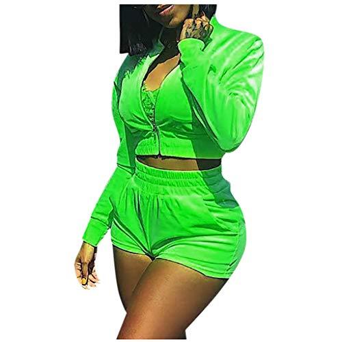Binggong Damen Shorts +Langarm Kurz O-Ausschnitt Elegant Jumpsuit Overall Playsuit Romper Zipper Sports Set