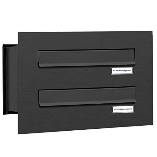 AL Briefkastensysteme 2er Briefkasten Mauerdurchwurf in Anthrazitgrau RAL 7016, 2 Fach DIN A4, wetterfeste Premium Doppel-Briefkasten-Anlage Postkasten