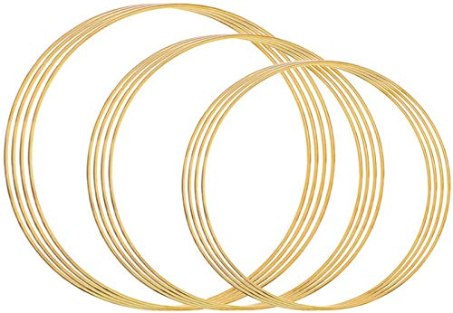 Outuxed 12pcs Gold Dream Catcher Metal Rings Supplies, Metal Hoops Macrame Creations Ring for Crafts, 3 Assorted Size(6inch, 8inch, 10inch)