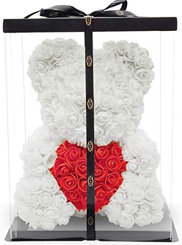 40cm künstlicher Blumenbär inklusive vor verpackter Geschenkbox Geburtstagsgeschenk für Sie - rosebear bär aus Rosen