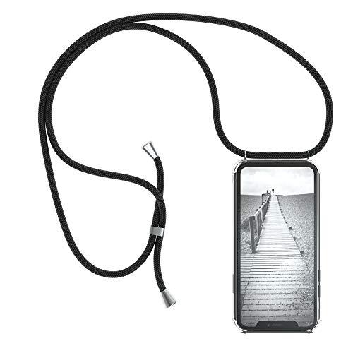 EAZY CASE Handykette kompatibel mit Apple iPhone XR Handyhülle mit Umhängeband, Handykordel mit Schutzhülle, Silikonhülle, Hülle mit Band, Stylische Kette mit Hülle für Smartphone, Schwarz