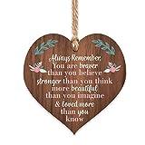 Manta Makes You are braver stronger smarter & beautiful | best friends wooden hanging heart | sentimental inspirational gift for cheer up women | friendship present uk | her girls woman