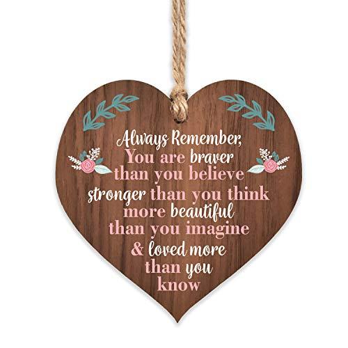 Manta Makes You are braver stronger smarter & beautiful | best friends wooden hanging heart | sentimental inspirational…