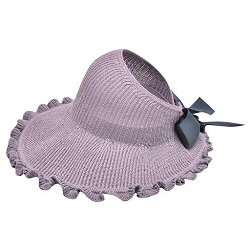 Fossen Sombrero Mujer Sol Verano Playa 2020 - Al Aire Libre Nudo de Arco Ahueca Hacia Fuera Protección Solar Gorra de Cuenca (Púrpura)