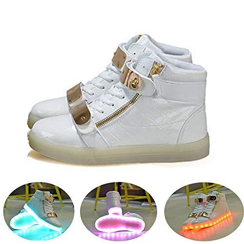 LED Schuhe CE-Zertifikat, 7 Farbe USB Aufladen LED Leuchtend Sport Schuhe Sportschuhe LED Sneaker Turnschuhe Für Unisex-Erwachsene Herren Damen High-Top Licht Blinkt Sneaker MitWhite-40