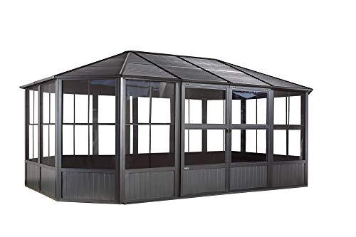 Sojag 12' x 18' Outdoor Charleston Aluminum Solarium Sunroom with Mosquito Net, Dark Gray