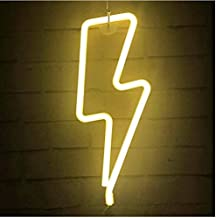 Lightning Bolt Neon Signs, LED Lightning Decor Light Neon Sign,Wall Decor for Home,Birthday Party,Kids Room, Living Room,Wedding Party Decor (Warm White)