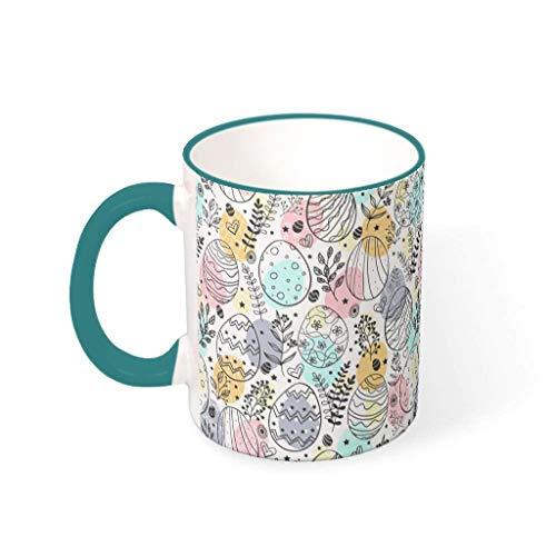 OwlOwlfan Huevo de Pascua de color taza de cerámica divertida taza de café taza de té con mango para la oficina en el hogar para las mujeres hombres verde azulado 330ml