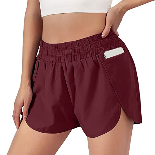 Jesaisque Womens Quick-Dry Athletic Workout Shorts Elastic Waist Running Pockets Shorts (Wine, M, m)