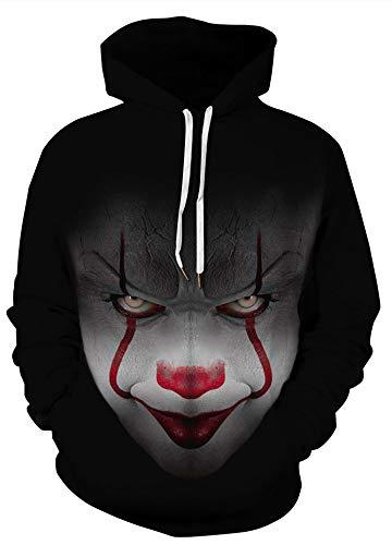 AMOMA Herren 3D Digitaldruck Weihnachten Hoodie Halloween Sweatshirt Unisex Kapuzenpullover(L/XL,Halloween Clown Smile)