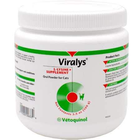 Vetoquinol Viralys L-Lysine Supplement for Cats, 3.5oz/100g - Cats & Kittens of All Ages - Immune Health - Sneezing, Runny Nose, Squinting, Watery Eyes - Palatable Fish & Poultry Flavor Lysine Powder