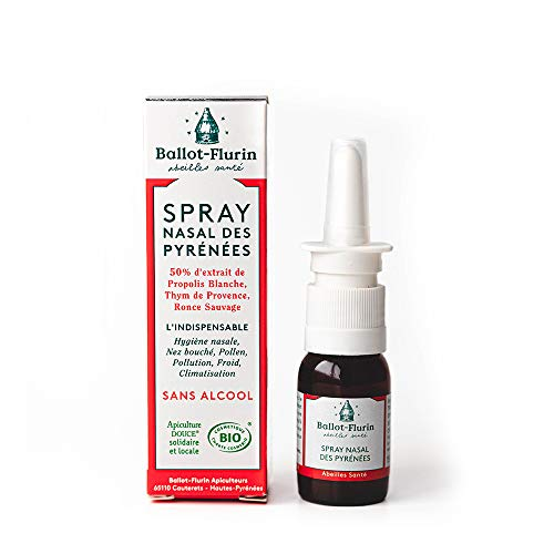 Ballot Flurin - Spray Nasal Pyrénées - Nez bouché - Pollution - Pollen - Hygiène Nasale - Propolis & plantes bio - Fabriqué en France - certifié Cosmébio - 15 ml