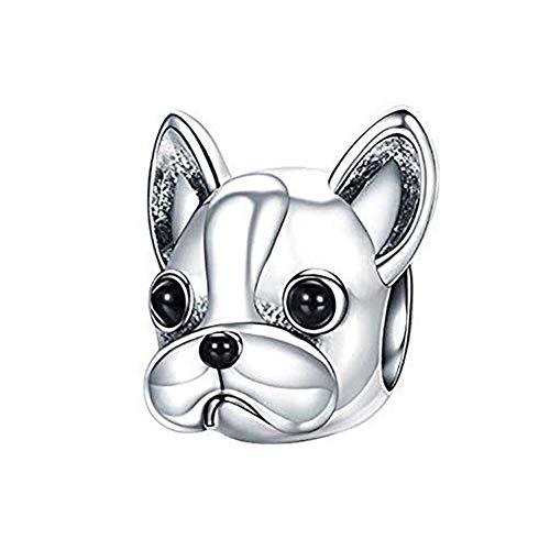 Love Dog Charm 925 Sterling Silver French Bulldog Charm Puppy Pet Dog Animal Charms for Dog Lovers (Love Dog - Bulldog)