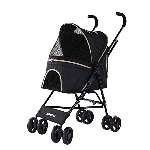 ROODO Pets Dog Stroller Pet Strollers for Small Medium Dogs Cats 4 Wheeler Elite Jogger Carriages Best for Cat Large Puppy (Black)