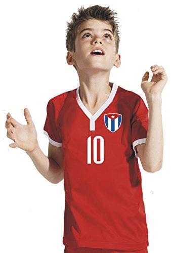 Aprom-Sports Cuba Niños Pantalones–Camiseta del surtidor Incluye Impresión Nombre Personalizado + nº RRR WM 2018, Rojo, 140