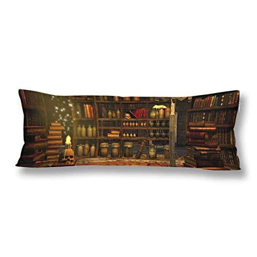 CiCiDi - Funda de Almohada para Dormir de Lado, 40 x 145 cm, Rectangular, con Cremallera, Magician's Place Libro Vela Calavera