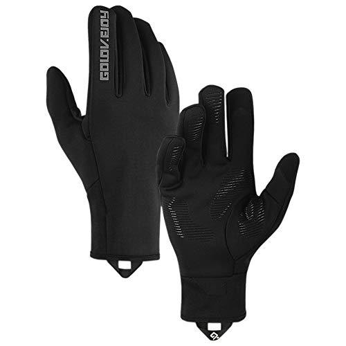 Winterhandschuhe Warm und Wasserdicht Touchscreen Fahrradhandschuhe für Radsport Skifahren Snowboard Downhill und Motorradfahren,Schwarz L
