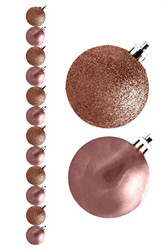 P&D Pacchetto di 12-3 Centimetri Baubles Rose Gold - Glitter e Matte - Decorazioni Albero di Natale