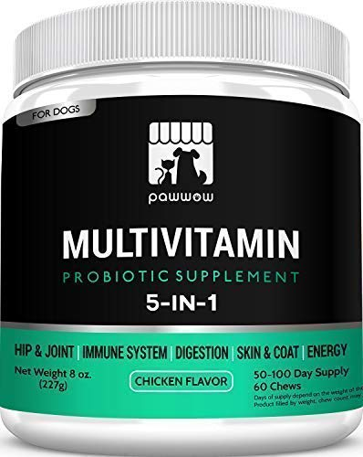 PawWow 5-in-1 Dog Vitamins and Probiotics Supplement with Turmeric – Hip & Joint, Immune System, Digestion, Skin & Coat, Energy