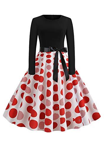 EFOFEI Vestido de mujer para Navidad, Halloween, fiesta, manga larga, línea A, falda grande, vestido de cóctel, fiesta, festival, carnaval y vestido con lazo Ob-Blanco Rojo M