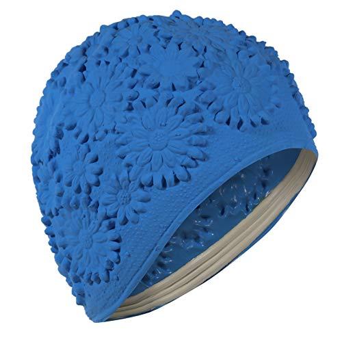 Cappello da bagno in lattice da donna con fiore blu