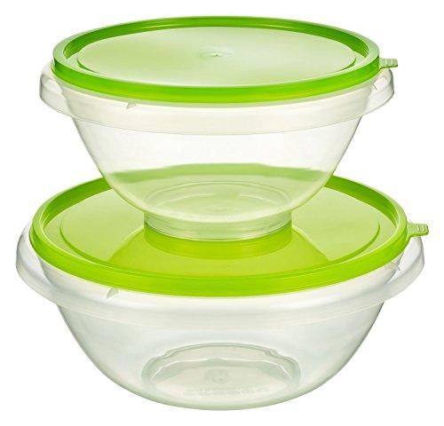 Kigima Hefeteigschüssel Rührschüssel Bowleschüssel Salatschüssel 2er Set 7l und 4,5l Grün