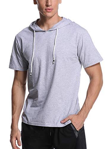 """Joweechy Herren Kurzarm/Lange à""""rmel Hoodie Sports T-Shirt Kurzärmeliger Mode Kapuzen Pullover, Grau 42, L"""