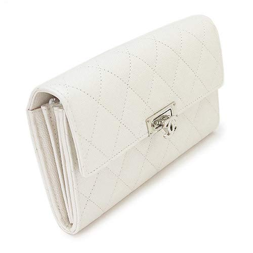 [シャネル]長財布レディースCHANELA80768ココロックフラップ二つ折り財布CCマークレザーキャビアキルティングマトラッセホワイト[並行輸入品]