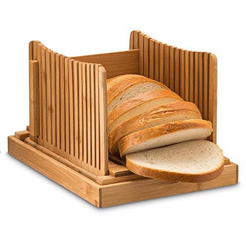 SHGK Bambusholz Brotschneider Schneidführung Faltbarer multifunktionaler Brotschneider mit Crumb Tray für hausgemachte Brotlaib Kuchen Toast & Kuchen