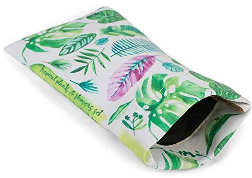 styleBREAKER Etui für Sonnenbrillen mit Palmen Blätter Print und Putztuch, Brillenetui mit Schnappverschluss, Unisex 09020101, Farbe:Weiß-Grün