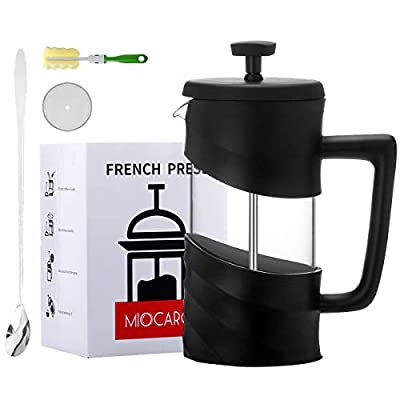 MIOCARO French Press Coffee Maker Set Gift 2 Cup Glass 12 Oz Tea Maker Stainless Steel Plastic Cover