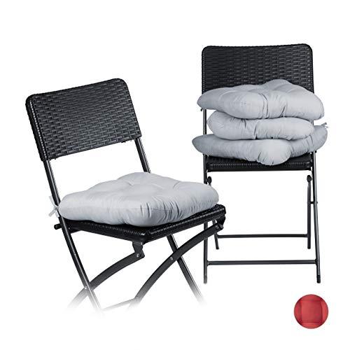 Relaxdays Stuhlkissen 4er Set, bequeme Sitzkissen mit Schleife, Sitzpolster Garten, Haus, weich, waschbar, 36x36cm, grau