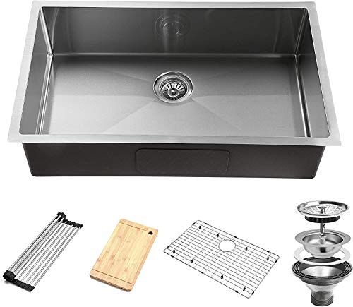 YSSOA 32-Inch Undermount Workstation Kitchen Sink, 16 Gauge Single Bowl Stainless Steel with Accessories (Pack of 5 Built-in Components), Silver