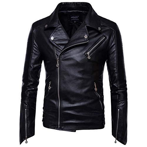 Dasongff Leren jack voor heren, bikerjack met bikkraag, gothic slim fit, kunstleren jack, opvouwbare kraag, modern zwart Large zwart