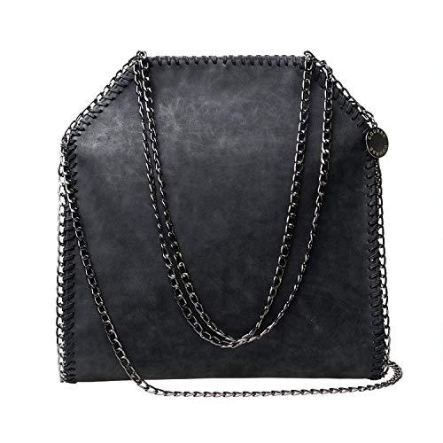 Course Damen Handtasche Umhängetasche mit Kette Shopper Lederoptik, 36x38x10 cm, Schwarz, E