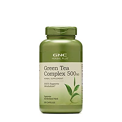 GNC Herbal Plus Green Tea Complex 500mg, 200 Vegetarian Capsules, Supports Metabolism