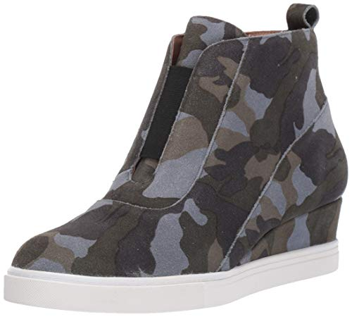 Anna - Low Heel Designer Platform Wedge Sneaker Bootie Comfortable Fashion Ankle Boot Camo Split Suede 10.5M