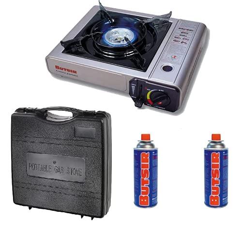 Cocina Portatil Gas + bombonas + maletín para cartuchos b250 bn250 para camping, camper, etc